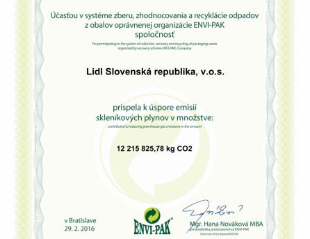 cerifikat za usporu emisii Lidl