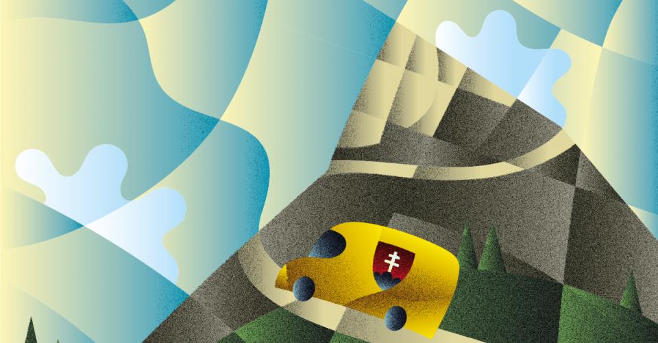Ilustrácia znázorňujúca auto slovenských dodávateľov, ktorý spolupracujú sLidlom