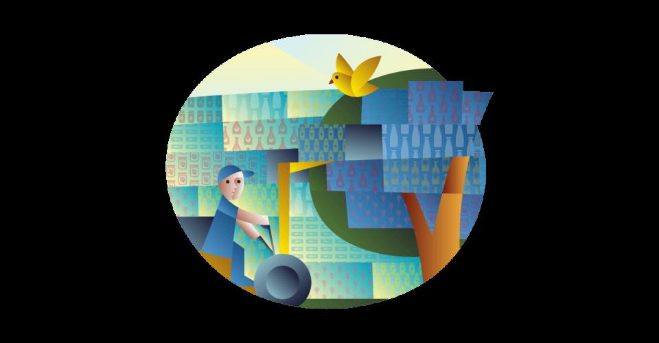 Ilustrácia pre nákup produktov a obalov vlastných značiek obsahujúcich celulózu